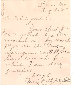 Letter from Ruth A. G. Shelton to W. E. B. Du Bois