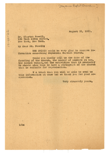 Letter from W. E. B. Du Bois to Clayton Powell
