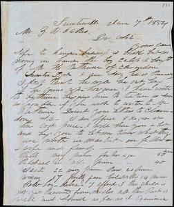 A. J. McElveen, Sumterville, S.C., autograph letter signed to Ziba B. Oakes, 7 Jan 1854