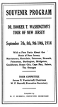 Souvenir program. Dr. Booker T. Washington's tour of New Jersey. September 7th, 8th, 9th, 10th, 1914. With a few facts about the state of New Jersey, Morristown, Montclair, Paterson, Newark, Princeton, Burlington, Bridgeton, Gouldtown, Ocean City, Cape May, Salem, the Oranges. Tour committee: James N. Vandervall, chairman; W. P. Burrell, executive secretary. Compiled by W. P. Burrell. [Cover page]