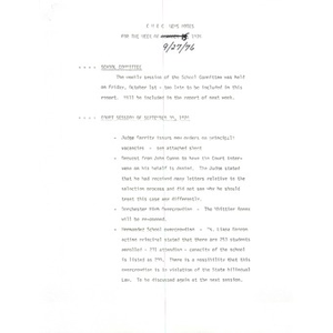 CWEC news notes for the week of 9/27/76.