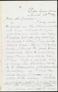 Letter from George H. Hibbert, Pigeon Cove, Mass., to William Lloyd Garrison, March 26th 1879