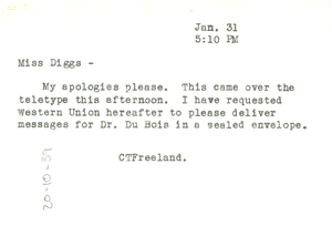 Note from C. T. Freeland to Ellen Irene Diggs