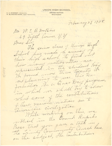 Letter from Union High School to W. E. B. Du Bois