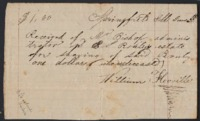 Receipt from William Florville for services rendered