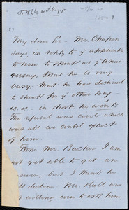 Letter from Sydney Howard Gay, to William Lloyd Garrison, April 25, [1854]