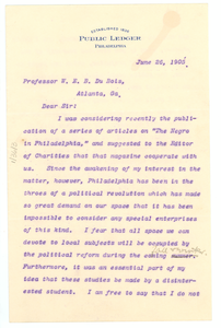 Letter from the editor of the Public Ledger to W. E. B. Du Bois