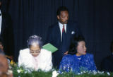 Rosa Parks, Jesse Jackson, and Coretta Scott King at the annual meeting of the Southern Christian Leadership Conference (SCLC) in Birmingham, Alabama.
