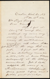 Letter from Joseph W. Peckham, Easton, N.Y., to William Lloyd Garrison, [January] 12th 1875