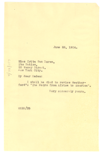 Letter from W. E. B. Du Bois to The Nation