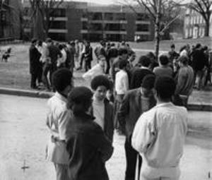 Students milling in the Science Quad during the Hopkins Occupation, 1969