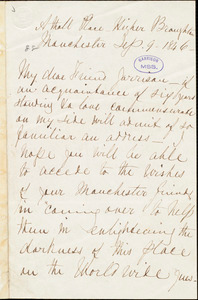 Letter from Rebecca Moore, Manchester, [England], to William Lloyd Garrison, Sep[tember] 9 - 1846