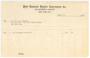 Invoice for rent on W. E. B. Du Bois's apartment