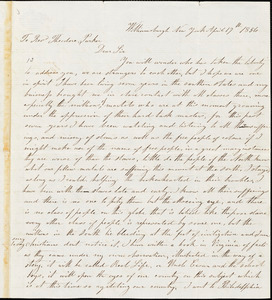 Letter from W. Ingram, Williamsburg, [New York], to Theodore Parker, 1856 April 17
