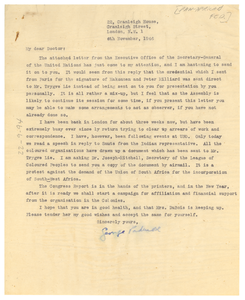 Letter from Pan-African Federation to W. E. B. Du Bois