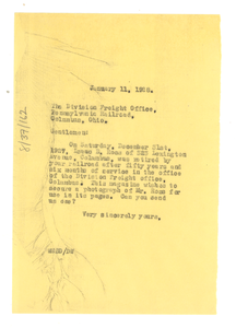 Letter from W. E. B. Du Bois to Pennsylvania Railroad Freight Office