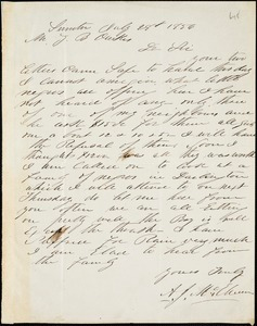 A. J. McElveen, Sumter, S.C., autograph note signed to Ziba B. Oakes, 28 July 1856