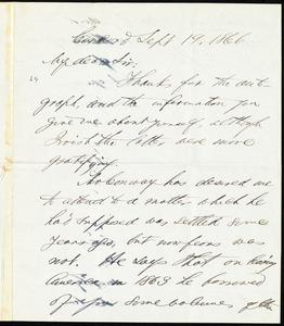 Letter from Franklin Benjamin Sanborn, Concord, [Mass.], to William Lloyd Garrison, Sept. 19, 1866