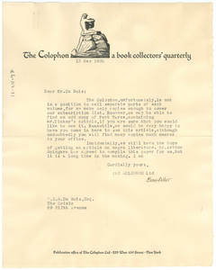 Letter from The Colphon to W. E. B. Du Bois