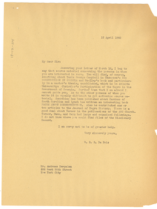 Letter from W. E. B. Du Bois to Andreas Dorpalen