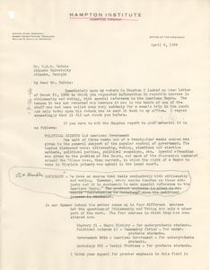 Letter from Hampton Institute to W. E. B. Du Bois