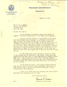 Letter from the Treasury Department to W. E. B. Du Bois