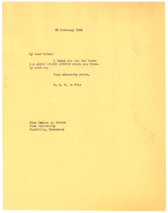 Letter from W. E. B. Du Bois to Luanna J. Bowles