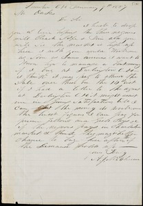 A. J. McElveen, Sumter Court House, S.C., autograph letter signed to Ziba B. Oakes, 9 January 1857