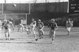Football teams playing on the field during the Turkey Day Classic, the annual football game held in Montgomery, Alabama, between Alabama State College and Tuskegee Institute.