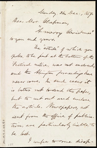 Letter from Oliver Johnson, [New York?], to Maria Weston Chapman, 26 Dec. 1859