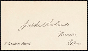 Letter from Joseph Avery Howland, Worcester, [Mass.], to Samuel May, April 6, 1887