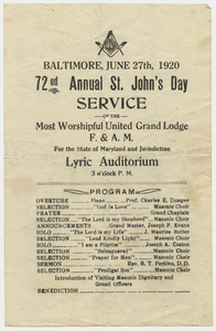 Thumbnail for 72nd annual St. John's Day service of the Most Worshipful Grand Lodge handbill, 1920 June 27
