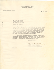 Letter from Paul E. Baker to W. E. B. Du Bois