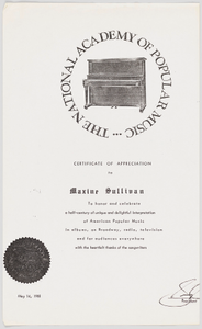 Photocopy of a Certificate of Appreciation for Maxine Sullivan