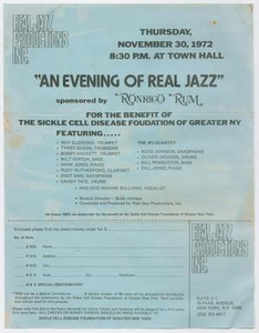 Advertisement for Roy Eldridge appearing at a benefit concert