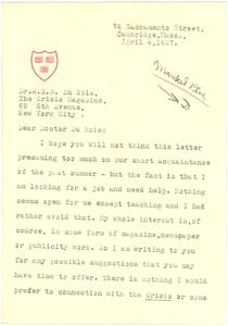 Letter from John Preston Davis to W. E. B. Du Bois