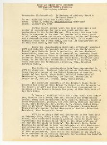Memo from Southern Negro Youth Congress to Members of Advisory Board and National Council