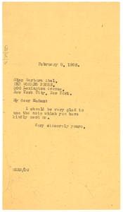 Letter from W. E. B. Du Bois to Barbara Abel