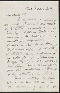 James Miller M'Kim autograph letter signed to [Thomas Wentworth Higginson], Philadelphia, 28 October [1859]