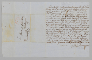 Letter to Samuel Fox from Giles Saunders regarding the slave trade