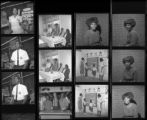 "Set of negatives by Clinton Wright including Whistle Cleaners advertisement, Ethel at Doolittle, children at Alou Trailer, Clinton Wright, Westside class, Thriftymart employees, and Howard ""Honeyboy"" King, 1967"