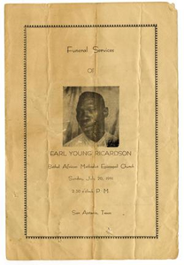 Funeral Program for Earl Young Ricardson, July 20, 1941 Funeral Services of Earl Young Ricardson
