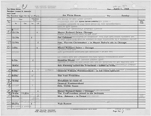 President's Daily Diary Entry, April 7, 1968