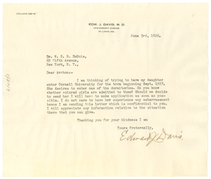 Letter from Edward J. Davis to W. E. B. Du Bois