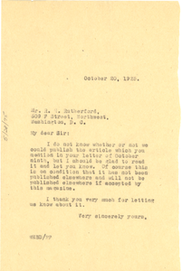 Letter from W. E. B. Du Bois to R. H. Rutherford