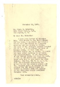Letter from W. E. B. Du Bois to Clyde C. McDuffie