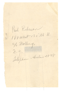 Address of Paul Robeson