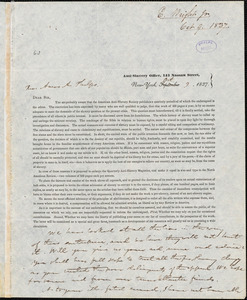 Letter from Elizur Wright, New York, to Amos Augustus Phelps, 1837 Oct[ober] 9