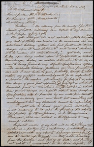 Letter from William Goodell, New York, to Francis Jackson, Robert Folger Wallcut, Samuel May, and the Massachusetts Anti-Slavery Society Board of Managers, Oct. 3, 1853