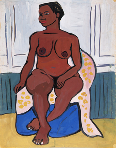 Seated Female Nude on Pink and Yellow Drape